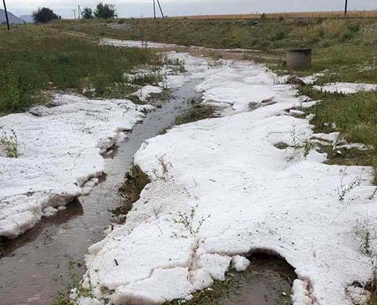 Απίστευτες εικόνες: Χιονισμένο... τοπίο θυμίζουν περιοχές στα Φάρσαλα από το χαλάζι που έπεσε!