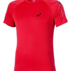 Asics Stripe SS hardloopshirt heren rood