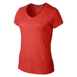 Nike Miler V-neck hardloopshirt dames rood