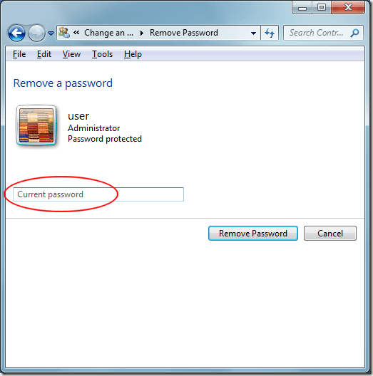 Windows 7 Type in Current Password