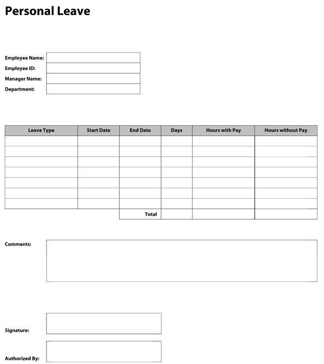 Leave Forms Template leave application format in word cover – Leave Request Template