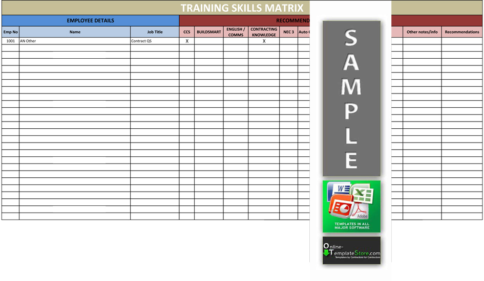Employee training matrix template excel download for Employee cross training template