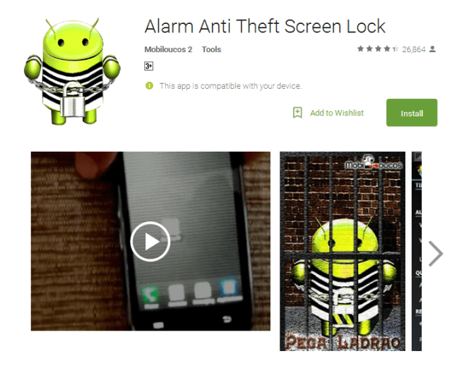 Anti theft lock screen app for android