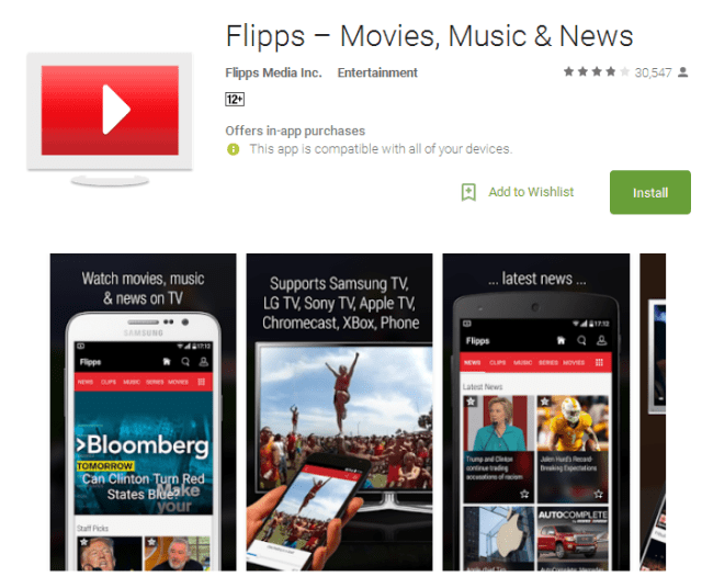Flipps Movies Music Android Apps