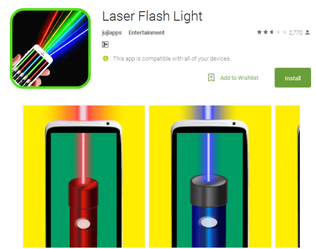 Laser Flash Light Android Apps