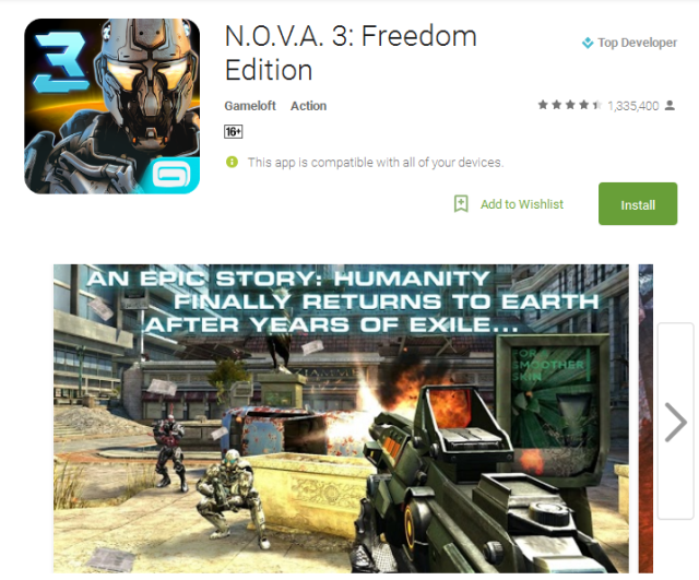 N.O.V.A. 3 Freedom Edition Android Apps