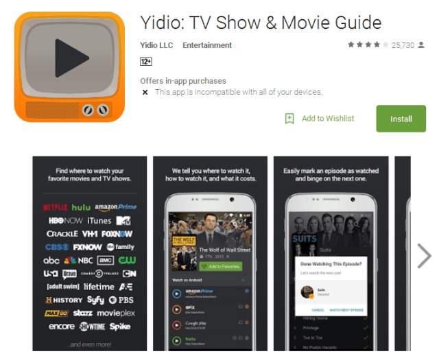 Yidio TV Show Movie Guide Android Apps