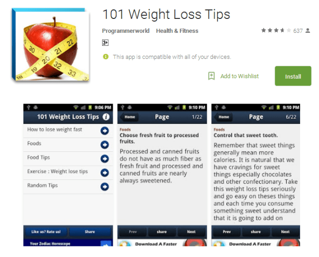 101 Weight Loss Tips Android App