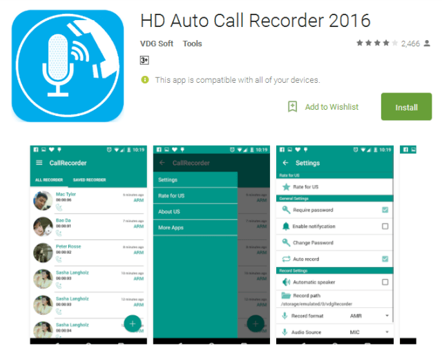 HD Auto Call Recorder Android App