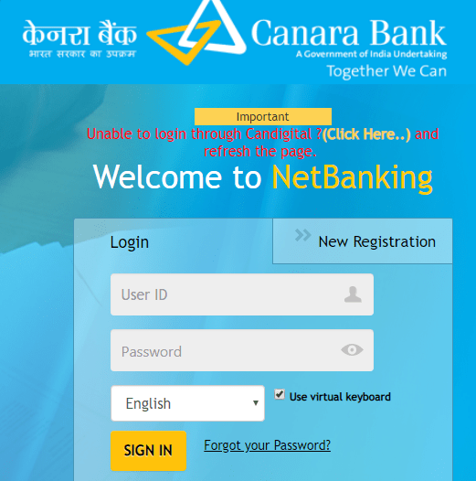 user id of canara bank net banking