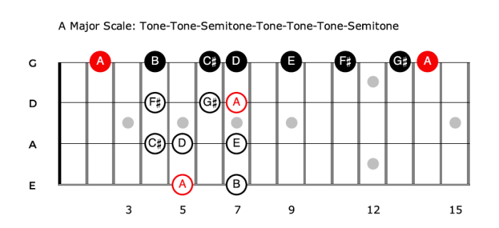 The Major Scale - formula for bass guitar