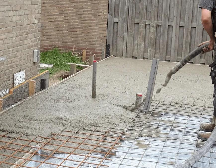 Betonvloer storten op zand