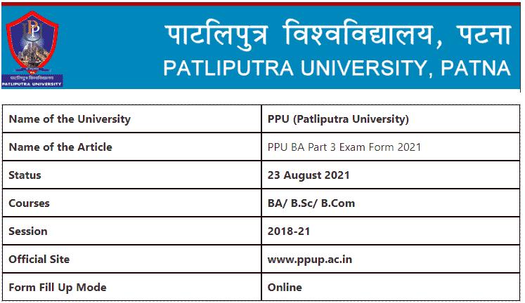 PPU BA Part 3 Exam Form 2021