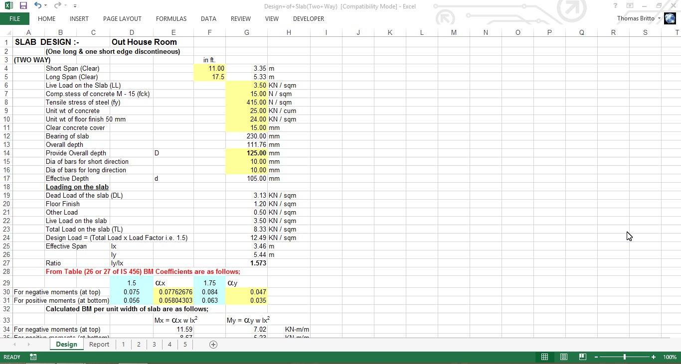 Design Of Slab Two Way Excel Sheet