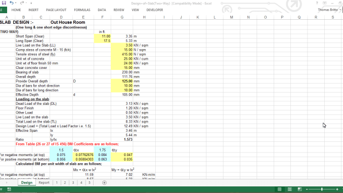 Design of Slab(Two Way) Excel Sheet
