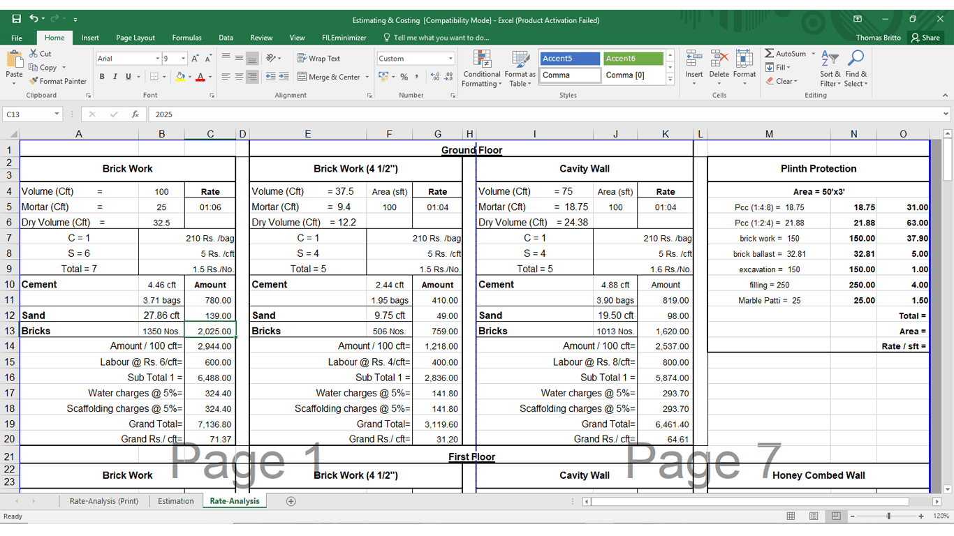 analysis of rates of building construction in excel