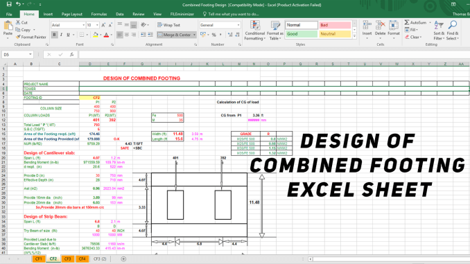 Design of Combined Footing Excel Sheet