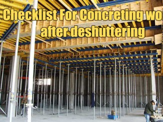 Checklist For Concreting works after deshuttering