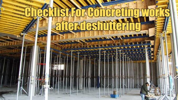 Checklist For Concreting works after deshuttering
