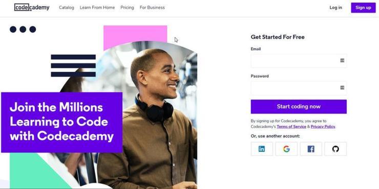 screenshoot of Codeacademy online courses