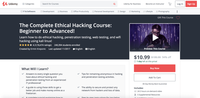 Posts by jrrillok online course report page 2 the complete ethical hacking course beginner to advanced with over 240000 students enrolled this course features 245 hours of on demand video fandeluxe Images