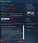 STEAM create new account form