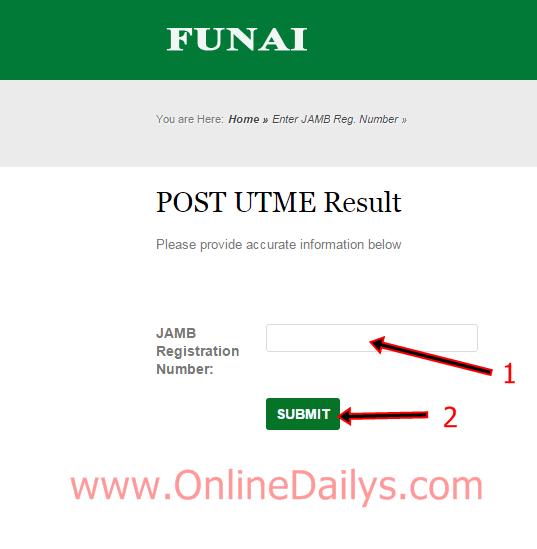 FUNAI POST-UTME Result checker portal | www.FUNAI.edu.ng