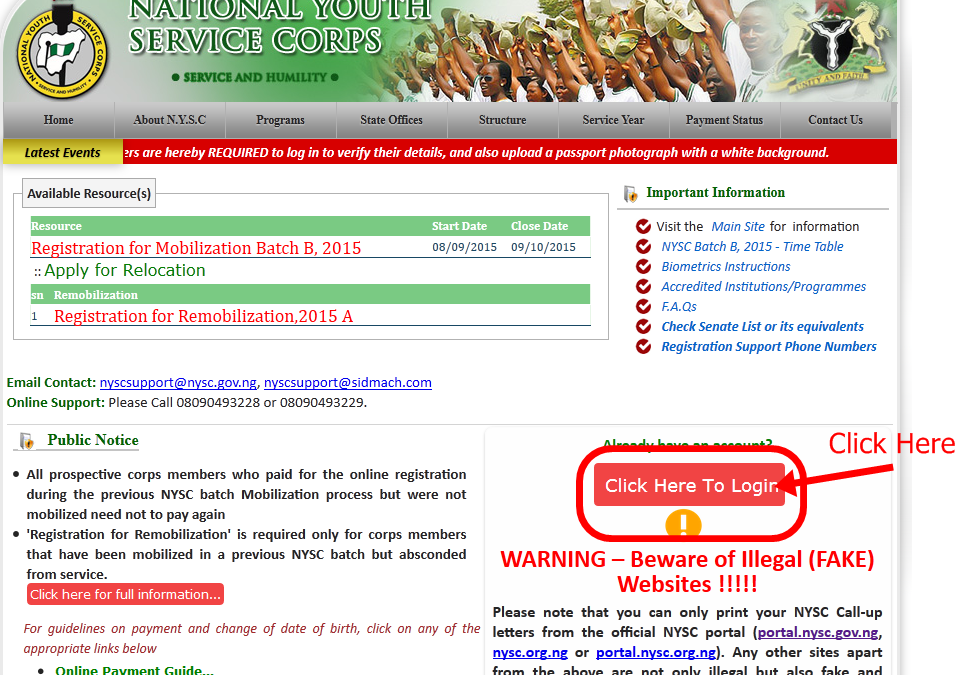 NYSC 2015 Batch B Registration Link and Mobilization Timetable