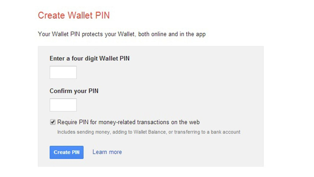 Create your Wallet pin