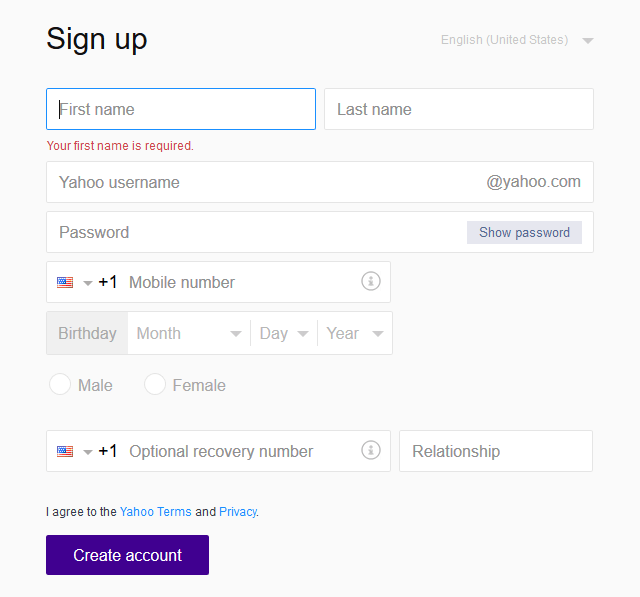Yahho com sign up