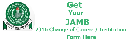 JAMB 2016 Change of Course Institution Form - banner