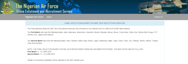 NAF page - Nigerian Airforce List of Successful Candidate in DSSC 2016