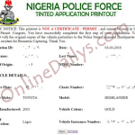 NPF Tinted Permit Online Print Out Application Form/Slip