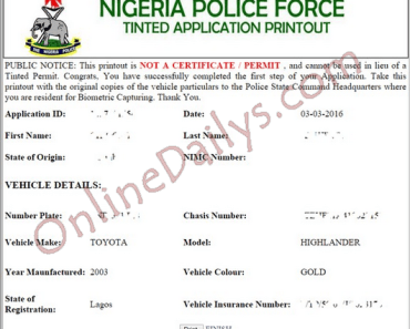 NPF Tinted Permit Online Print Out