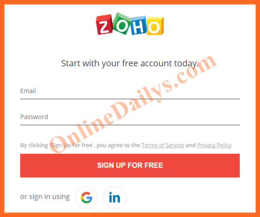 Create Zoho Mail Registration