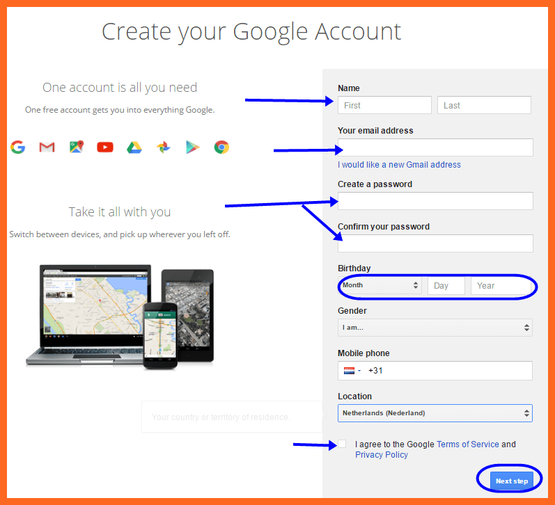 Youtube sign up Account Registration form