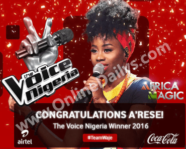 A'rese Emokpae - The Voice Nigeria 2016 Winner