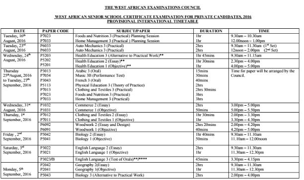 WAEC GCE Timetable 2016 - 2017