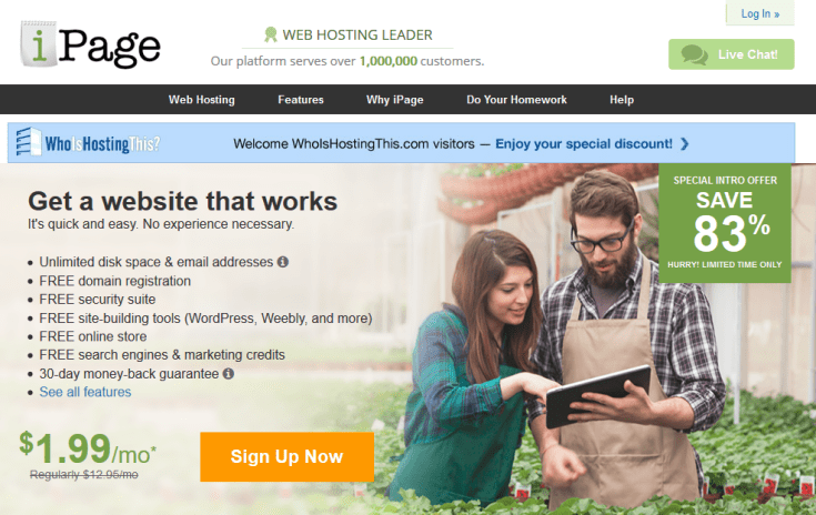 iPage on Top Web Hosting Service Sites