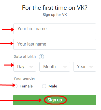 VKontakte Account Registration