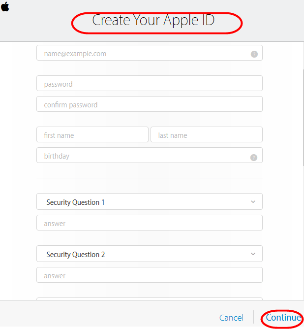 signup Apple ID form