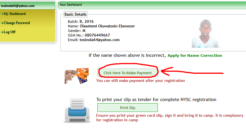 How to Make NYSC Online Payment