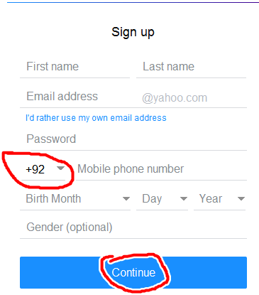 Yahoo Registration form for Pakistan