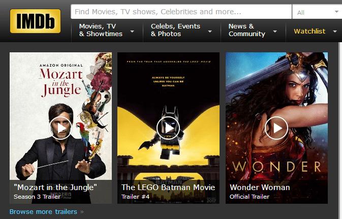 How page Sreenshot for IMDb Account