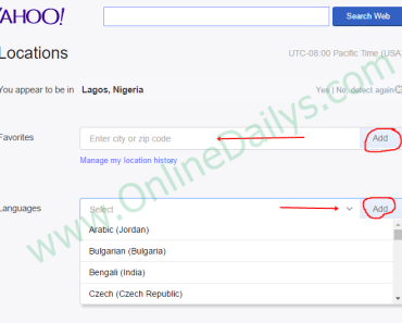 Image: Change Yahoo Mail Country Language