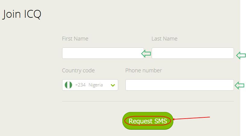 Logo: ICQ Messenger Registration form