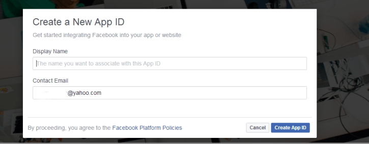 Image: Facebook Developers Account Registration