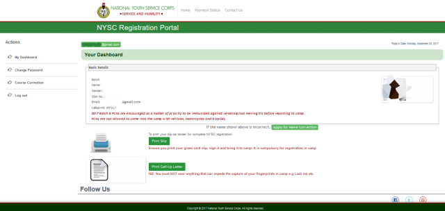 My NYSC Dashboard Acct page