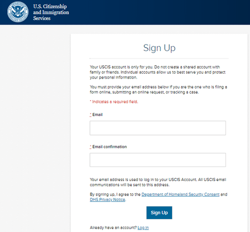 U.S. Citizenship and Immigration Services (USCIS) Application Form