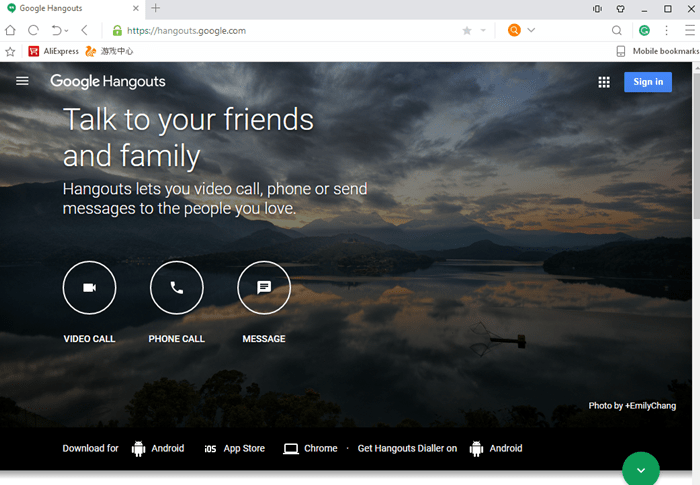 Hangouts for PC web
